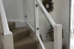 Internal staircase, spindles replaced with glass