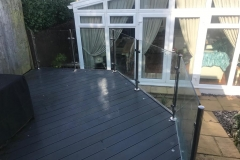 Decking with steel and glass balustrade